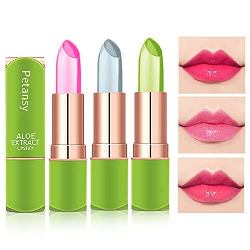 Petansy 3 Packs Aloe Vera Lipstick , Lips Moisturizer Long Lasting Nutritious Lip Balm Magic Temperature Color Change…