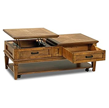 Amazoncom Lift Top Coffee Table Rolling Split Vintage Country - Lift top coffee table with storage drawers