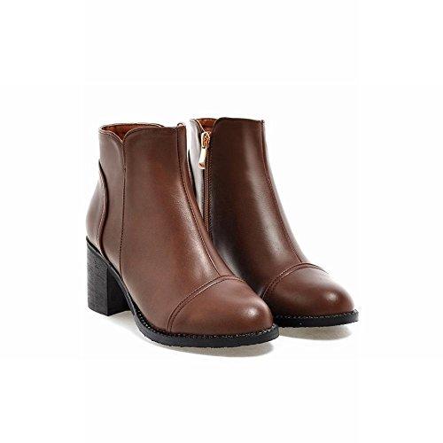 Latasa Womens Simple Zipper Block Mid-heel Ankle High Casual Boots Brown RI96msZ