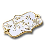 10ae4617aa4 Beware of The Dog Brass Door Sign. Vintage Shabby Chic Style Home Décor  Wall Plaque