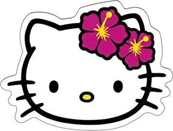 Exceptional Hello Kitty   Face Shot With Hawaiian Hibiscus Flowers   Sticker / Decal Part 17