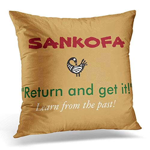 - Uwwrticm Throw Pillow Cover 2Tone Sankofa 2 Tone Design Round African Decorative Pillow Case Home Decor Square 18x18 Inches Pillowcase