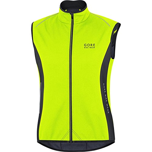 Gore Bike WEAR, Men´s, Thermal Cycling Vest, No Sleeves, Gore Windstopper Soft Shell Thermal, Power, Size S, Neon Yellow/Black, VPOWER (Gore Bike Wear Power Windstopper Softshell Jersey)