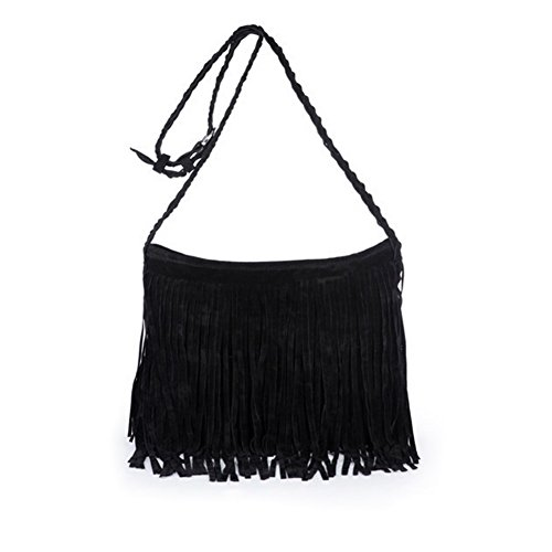 Jiaruo Girls Scrub Sling Leather Woven Mini Buckets bags Crossbody Bag Flap (black) (Fringe Winters Bag)