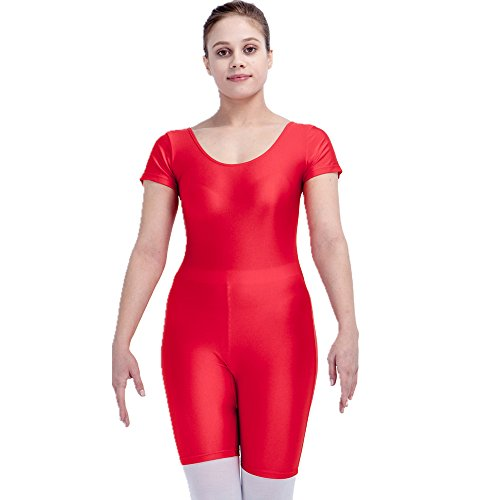stics Leotard Bodysuit Short Sleeve Nylon and Spandex Medium Red (Adult Short Sleeve Leotard)