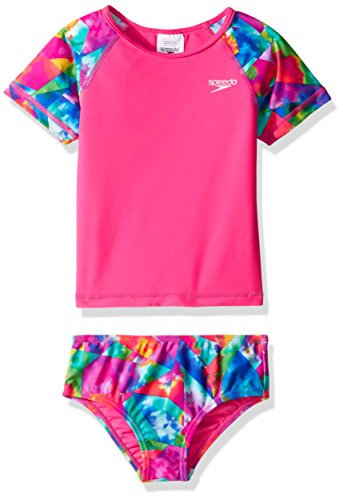 Speedo Printed Short Sleeve Rash Guard Swim T-Shirt Two Piece Swim Set, Electric Pink, 12m