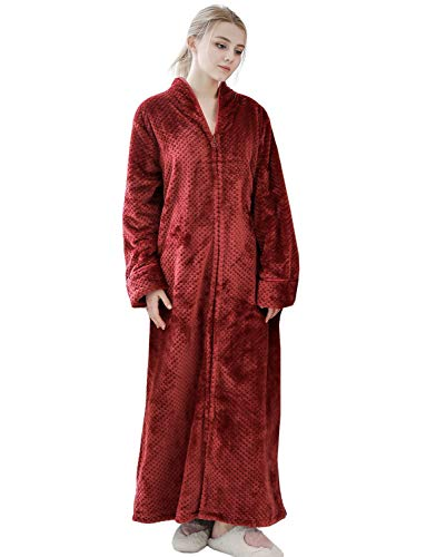 Womens Loungeing Bathrobes Sleepwear Long Fluffy Fleece Robes with Zipper Front (Large, Wine - Microfleece Womens Bathrobe
