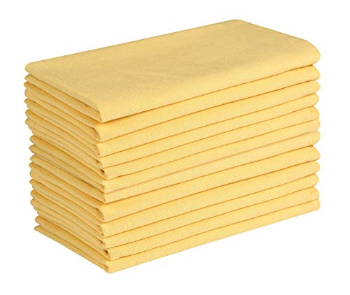 (Cotton Clinic Solid 20x20 Cloth Dinner Napkins Yellow - Set of 12)