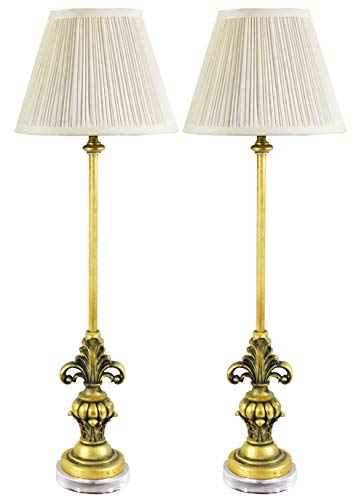 Urbanest Set of 2 William Buffet Lamps, Antique Gold with Cream Pleated Shades, 27-inch Tall ()