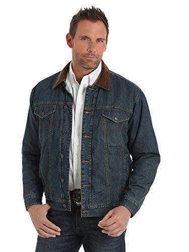 Wrangler Men's Big and Tall Western Concealed Carry Blanket Lined Denim Jacket, Vintage Wash, - Wrangler Jeans Lined Flannel