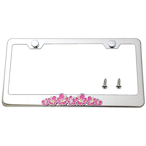 LFPartS Hibiscus 3d Flower Emblem Stainless Steel License Plate Frame (Chrome Frame, Hot Pink Flower)