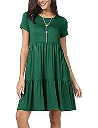 42ea38ff1941 Women Summer Short Sleeve Ruffle Loose Swing Casual T Shirt Dress