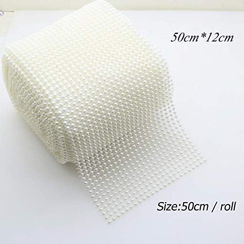 (DalaB Crafts Bling Sparkling White Pearl Mesh Wrap Ribbon Roll for Cake Vase Centerpiece Party Wedding Decoration. - (Size: Not Cut))