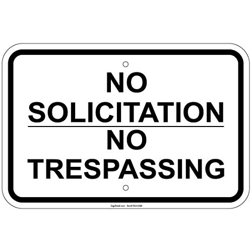 Heavy Gauge No Solicitation No Trespassing Sign Aluminum Metal Sign Heavy Duty Funny Decoration Tin Signs
