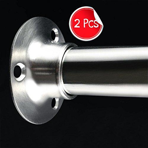 Alise 2 Pcs Stainless Steel Shower Closet Rod Set Holder Flange Socket Bracket Support 1 Inch Dia,Brushed Nickel (Steel Rods Closet)