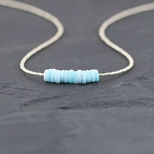 - JP_Beads Peruvian Blue Opal & Dainty Seed Bead Necklace. Delicate Beaded Choker. Heishi Gemstone Layering Necklace. Sterling Silver Platedor Gold Filled Filled Filled 6mm 16