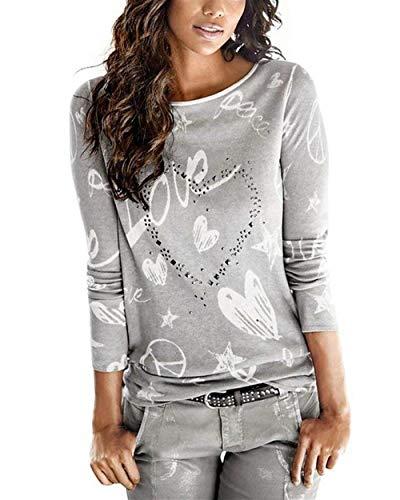 Mode Shirts Grau Chemisier Coeur Impression Spcial Jeune Motif Chemise Mode Hiver Rond De Elgante Col Haut Femme Automne Strass Longues Style Manches Casual zwTBqIR