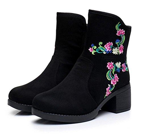 las de bordados mujeres nuevas a retro de Botines lateral cremallera hechos black zapatos mano SXgpzWWCnx