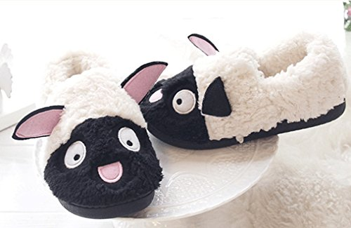 Cattior Dames Leuke Comfy Warme Damesslippers Huisschoenen Zwart