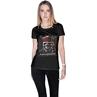 Creo Black Cotton Round Neck T-Shirt For Women