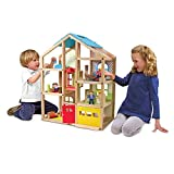 Melissa & Doug Hi-Rise Wooden Dollhouse and Furniture Set (1:12 Scale Dollhouse, Multi-Color, 18 Pieces, 30″ H × 23.75″ W × 13″ L, Great Gift for Girls and Boys - Best for 3, 4, 5, and 6 Year Olds)