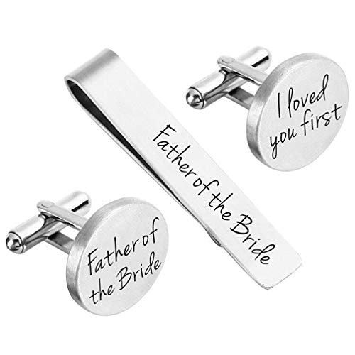 ZUNON Father of The Bride Cufflinks Wedding Engraved Father of The Bride Gifts Tie Clip Tack Bar (Father of The -