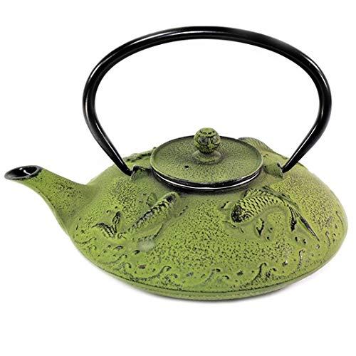 Japanese Antique 24 Fl Oz Green Fancy Carp Koi Fish Cast Iron Teapot Tetsubin with Infuser Cast Iron Prosperity Teapot
