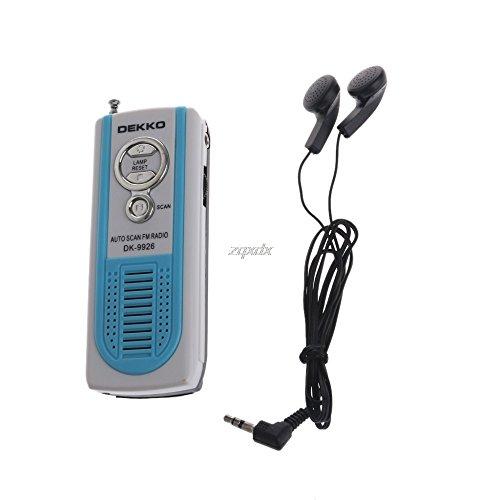 Hariier Mini Portable Auto Scan FM Radio Receiver Belt Clip With Flashlight Earphone FM 87-108MHz DK-9926 Built in loud speaker ()