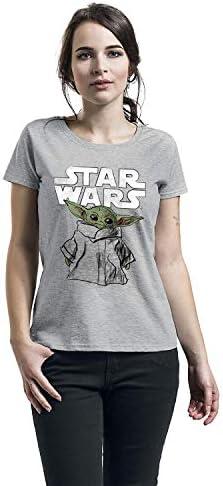 Star Wars The Mandalorian Child Sketch Donna T-Shirt Grigio Sport Regular