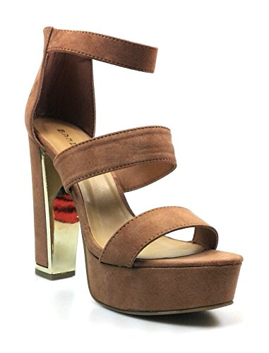 bamboo Womens High Chunky Heel Platform Sandal With Double Ankle Strap (7, MOCSF Inclined-04s)