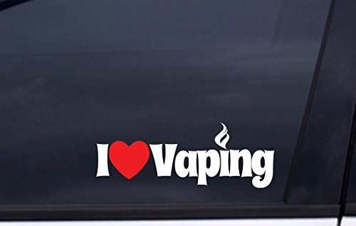 """I LOVE VAPING Vinyl Decal 3""""x8"""" WHITE and RED Free Shipping vape sticker"""