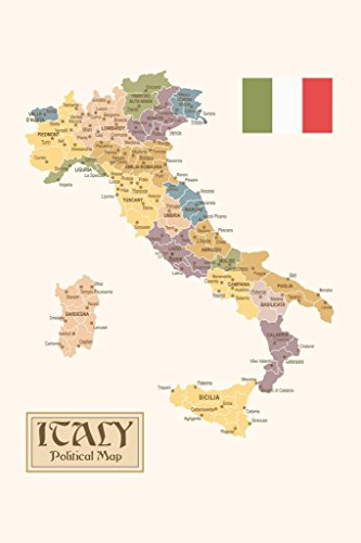Political Map of Italy Regions Provinces States Flag Vintage Style Poster 24x36 inch