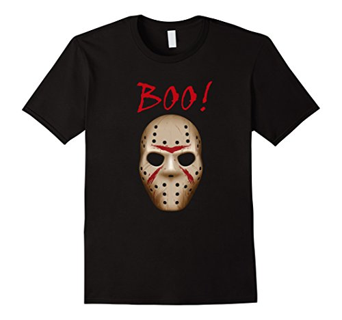 Jason Costume For Men (Mens Boo Shirt, Halloween Costume, Jason Mask Shirt 2XL Black)