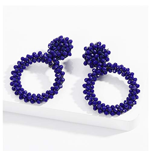 BEST LADY Statement Beaded Hoop Earrings - Fashion Bohemian Handmade Whimsical Drop Earrings for Women Jewelry, Idear Gifts for Mom, Sisters and Friends (Blue-2)