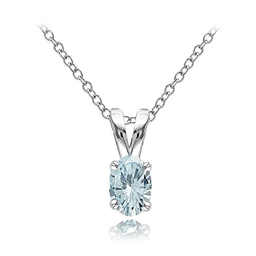 Aquamarine Solitaire Oval - Ice Gems Sterling Silver Aquamarine 6x4mm Oval Solitaire Necklace with 18 Inch Chain