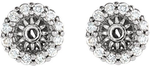 Platinum Diamond Cluster Earring Jackets (3.6MM) (0.125 Ctw, G-H Color, SI2-SI3 Clarity) (Platinum Earring Diamond Jackets)