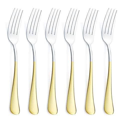(6 Piece Dinner Fork Set 24K Gold Plated Handle Stainless Steel Silverware Flatware Cutlery Forks Only Bulk Open Stock Dessert Salad Fork Serving for 6 Mirror Finish Dishwasher Safe 7.2 Inches)