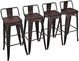 """Yongchuang Metal Counter Height Bar Stools Set of 4 for Indoor-Outdoor Wood Top Low Back, 30"""""""