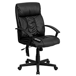 MFO High Back Massaging Black Leather Executive Office Chair