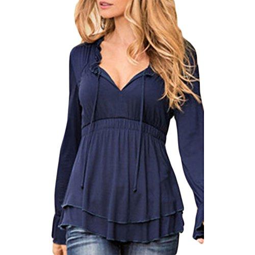 Damen V-Ausschnitt Langarm Loose Beiläufige T-shirt Top Tops Oberteile Shirt  Shirts Blau e714fe2753