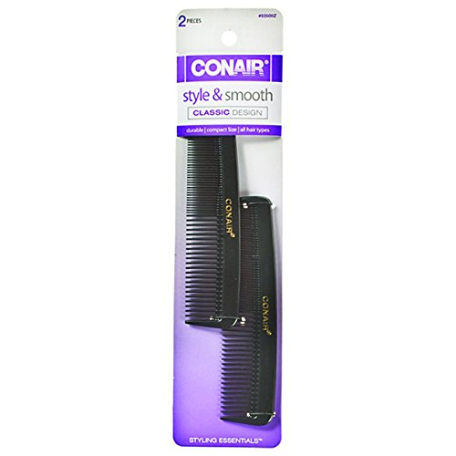 Conair Hard Rubber Pocket Comb 2 Count Pack Of 3