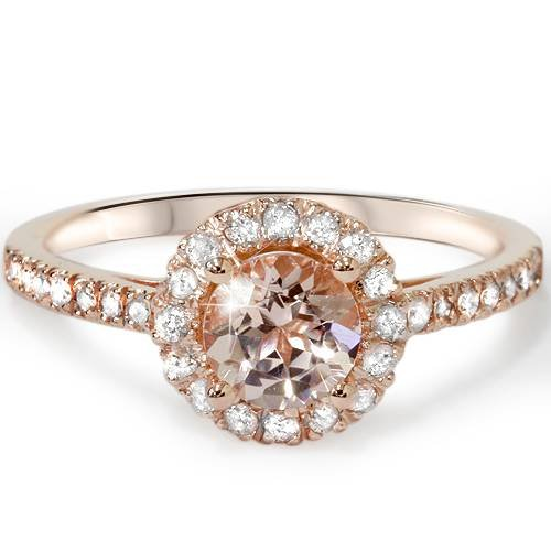 1ct Morganite & Diamond Halo Engagement Ring 14K Rose Gold