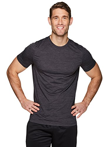 RBX Active Men's Performance Short Sleeve Athletic T-Shirt Heather Black XL