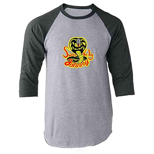 Sweep The Leg Johnny Cobra Kai Karate Kid 80s Gray XL Raglan Baseball Tee Shirt -