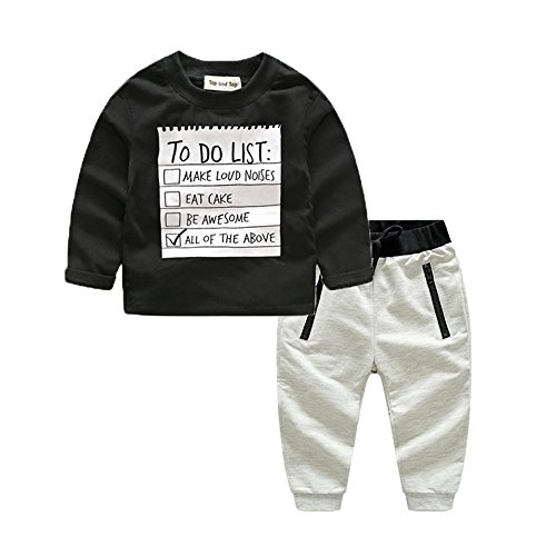 xirubaby Kids Toddler Boys Handsome Black Blouse Tshirt+ Gray Casual Pants Outfits