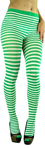 ToBeInStyle Women's Colorful Opaque Striped Tights Pantyhose Stocking Hosiery - WHITE/KELLYGREEN - One (Green And Purple Striped Tights)