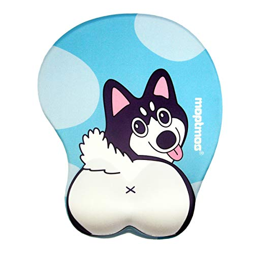 Anime Dog 3D Mouse Pad Soft Gel Ergonomic Mouse Map Office Mousepad with Wrist Support for PC Laptop (Husky)