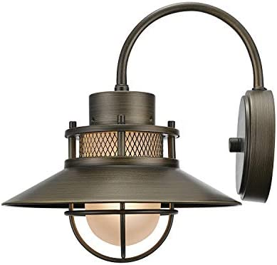 Liam 1-Light Outdoor Indoor Wall Sconce, Bronze, Frosted White Glass Shade,44097