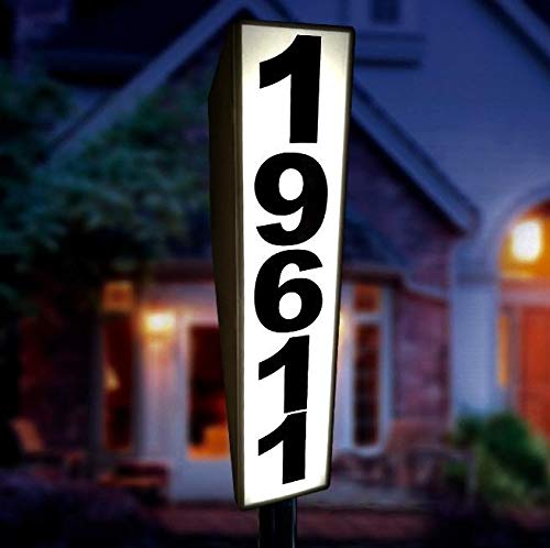 Solar Lighted Address Sign by Eternal Light | Personalized House Plaque Helps Emergency Responders Locate Your Home (Solar Light House Number)
