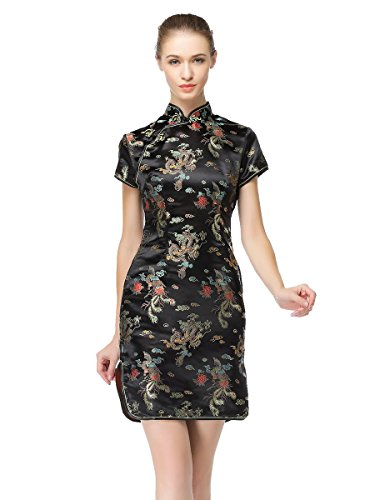 Bitablue Women's Chinese Dragon and Phoenix Knee-Length Dress (Black, 12)